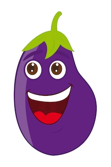 Eggplant cartoon over white background vector illustration