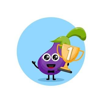 Баклажан кубок чемпиона дизайн персонаж милый