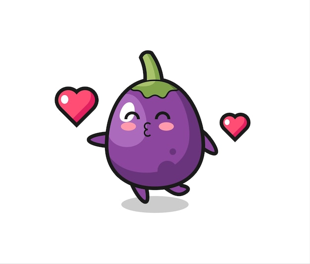 Eggplant character cartoon with kissing gesture , cute style design for t shirt, sticker, logo element