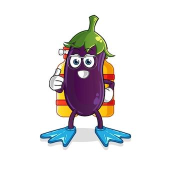 Eggplant divers mascot.
