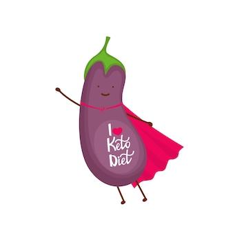 Баклажан одет как персонаж мультфильма супергероя. я люблю кето-диету - рисованной надписи.