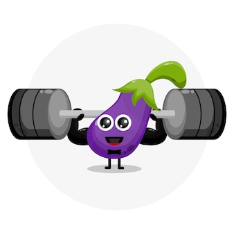 Eggplant fitness cute character logo