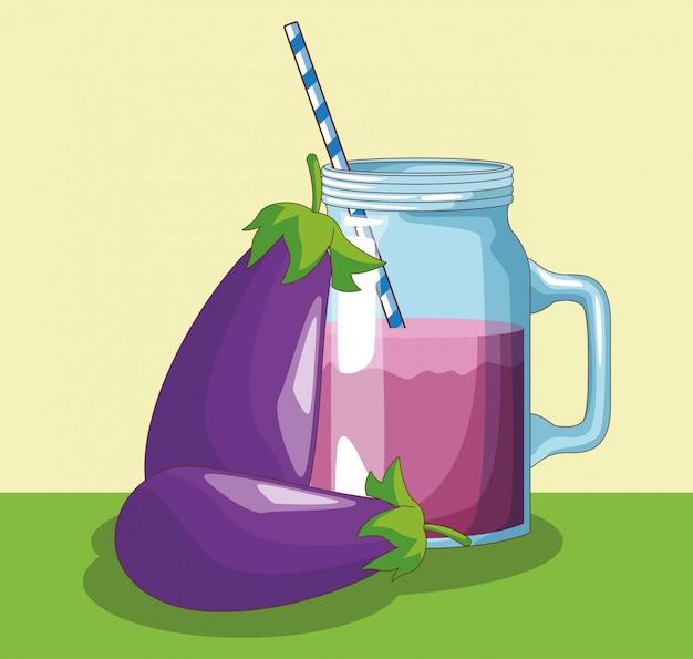 Eggplant juice mason jar
