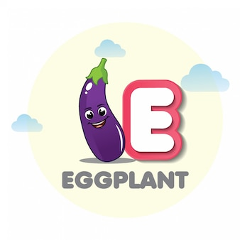 Eggplant mascot with letter c