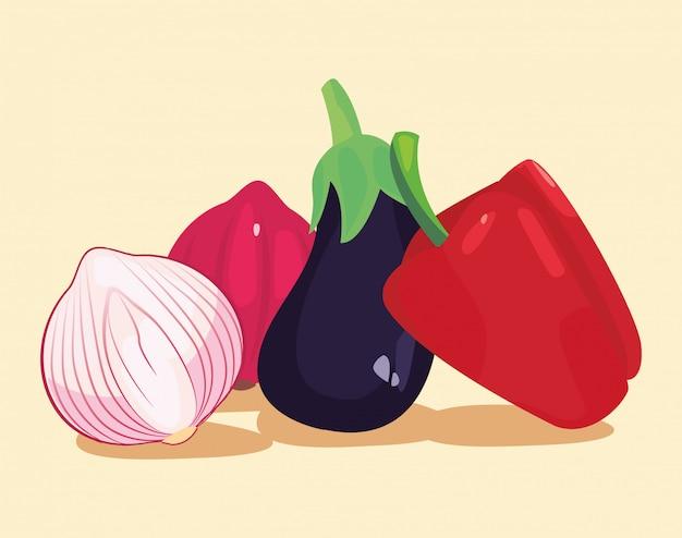 Eggplant pepper garlic fresh vegetables ilustration