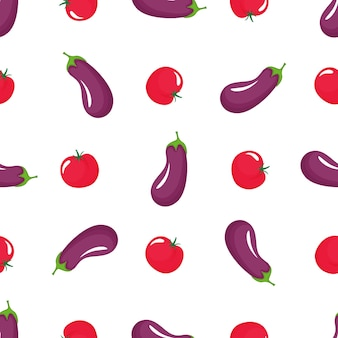 Eggplant and red tomato seamless pattern. organic vegetarian food. used for design surfaces, fabrics, textiles, packaging paper.