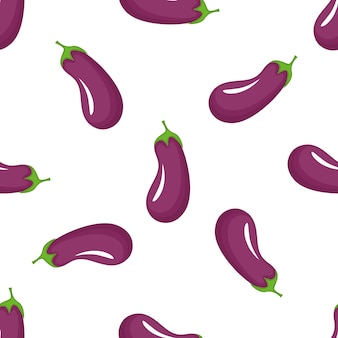 Eggplant seamless pattern. organic vegetarian food. used for design surfaces, fabrics, textiles, packaging paper.