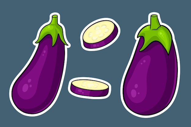 Eggplant set. whole eggplant and cut wedges. in cartoon style stickers. vector illustration for design and decoration.