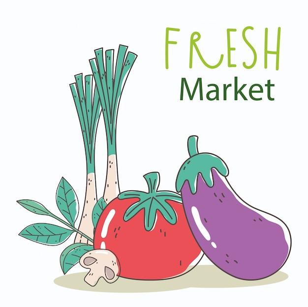 Баклажаны, помидоры и лук, свежий рынок, органическая здоровая пища с фруктами и овощами