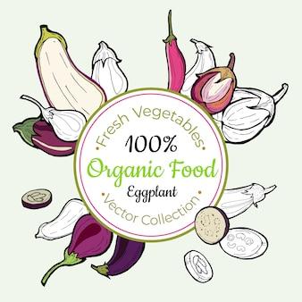 Eggplant vegetable groceries vintage label