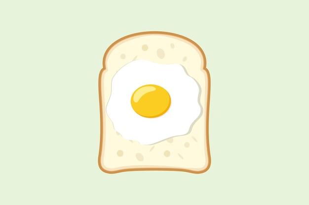 卵とパン。目玉焼きを使ったサンドイッチデザインのクリエイティブなコンセプト。ファストフード。フラットスタイルのベクトル図