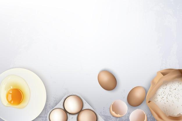 パンやクッキーを焼くための卵と小麦粉の材料
