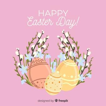 Пасхальные яйца и цветы фон