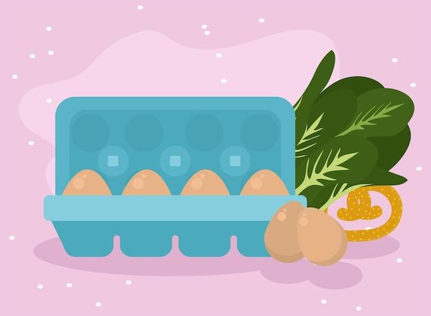 ピンクの背景に卵と食べ物のアイコンのコレクション