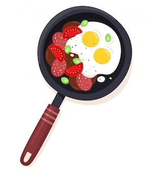 Яйца и колбаса салями с помидорами и зеленью на сковороде.