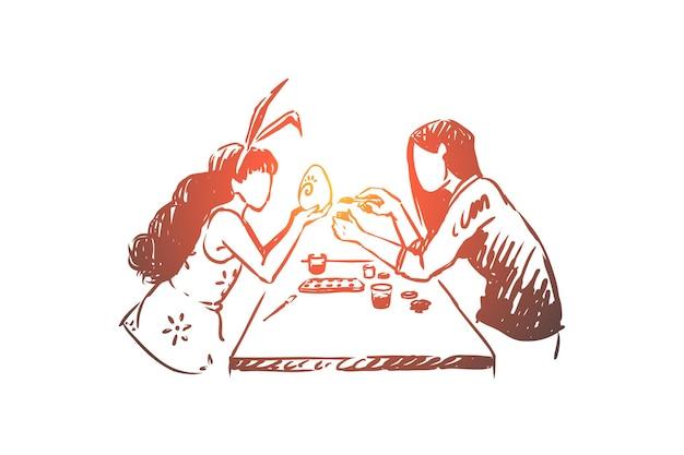 Мастер-класс по украшению яиц, ручная работа, дочь с кроличьими ушками