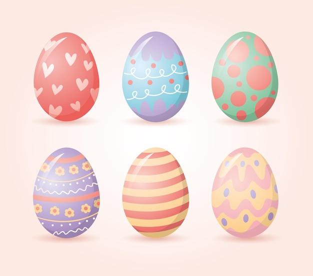 하트 점 및 선 계란 부활절 만화