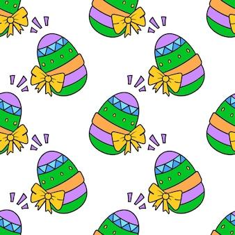 Яйца пасхальные украшения бесшовные текстильный принт. отлично подходит для летней винтажной ткани, скрапбукинга, обоев, подарочной упаковки. повторять узор фона дизайн