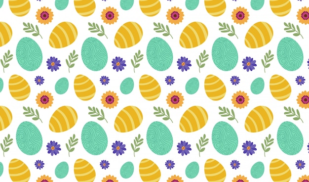 Eggs and flowers pattern