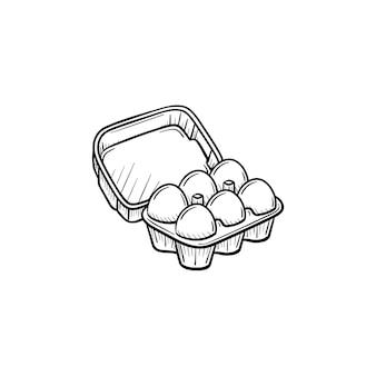 Яйца в картонной упаковке рисованной вектор наброски каракули значок. яйца в картонной упаковке эскиз иллюстрации для печати, интернета, мобильных устройств и инфографики, изолированные на белом фоне.