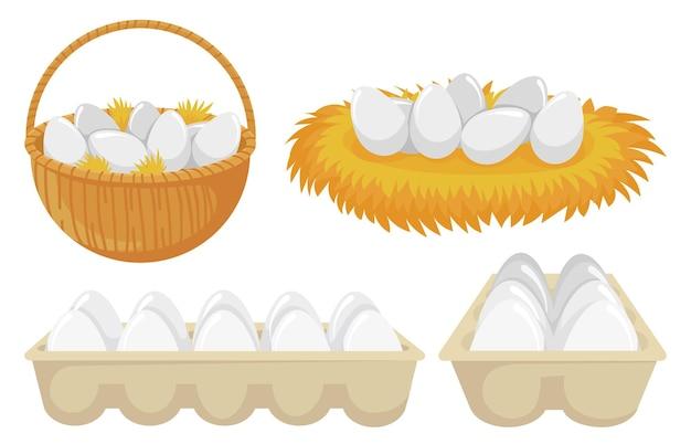 巣とバスケットの卵。鶏卵のトレイ。料理用のオーガニック製品と天然製品が入った段ボール紙のパッケージを開きます。ベクトルイラストを食べるための農業と農業の概念