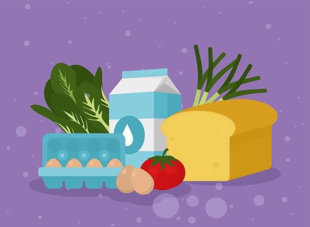 紫色の背景に卵ミルクチーズと食品のアイコン