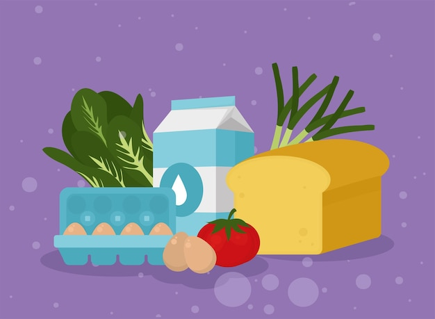 Eggs milk cheese and food icons on purple background