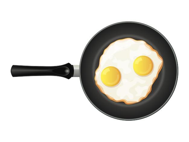Яичка на сковороде на белой предпосылке. вкусный завтрак. изолированный объект на белом фоне. мультяшный стиль