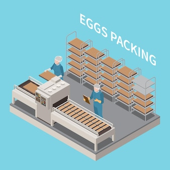 Eggs packing isometric composition with two people in uniform working on conveyor illustration