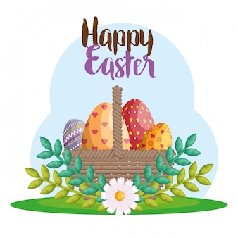 Eggs painted happy easter celebration greeting card