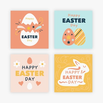Eggs and rabbits easter instagram post collection