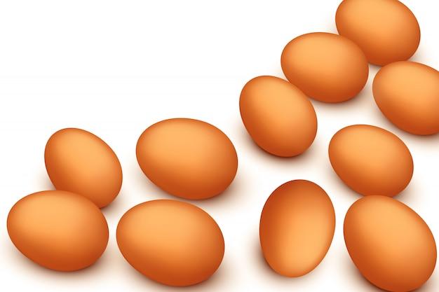 Eggs on white