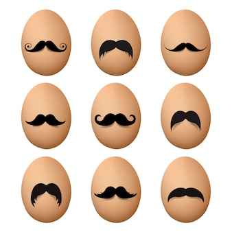 Eggs with mustache big set