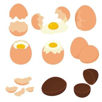 卵殻アイコンを設定します。白い背景で隔離のウェブデザインの卵殻アイコンの等尺性セット