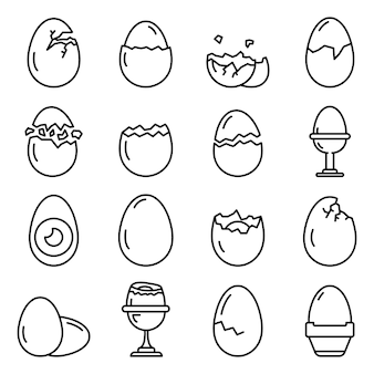 Eggshell icons set, outline style