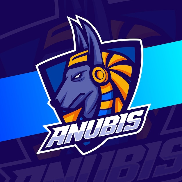 이집트의 aubis 마스코트 esport 로고는 게임용 캐릭터를 디자인합니다.