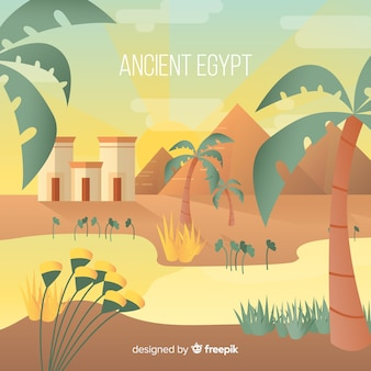 Egypt background with landscape in flat design