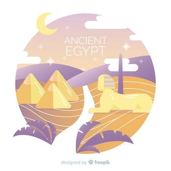 Египет фон с пейзажем в плоском дизайне