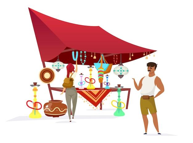 Египетский базар плоского цвета безликого характера. традиционный африканский базар, рынок. продавец, продающий кальяны, сувениры для туристов, изолированных мультфильм иллюстрации на белом фоне