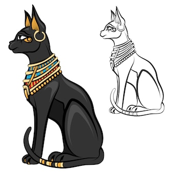 Egypt cat goddess bastet. egyptian god, ancient figurine sitting, black statue feline, souvenir statuette, vector illustration