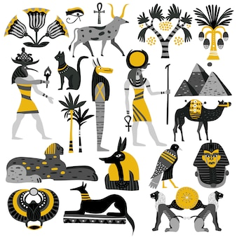 Egypt decorative icons set