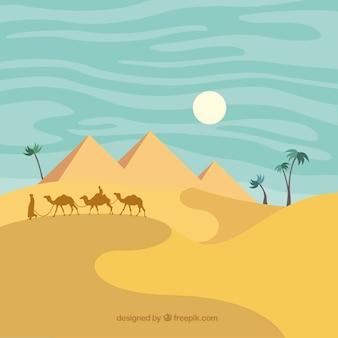 Египет пейзаж пустыни в плоском дизайне