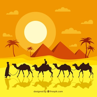 エジプト、フラット、デザイン、砂漠、風景、背景