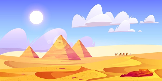 Egypt desert landscape with pyramids and camels caravan