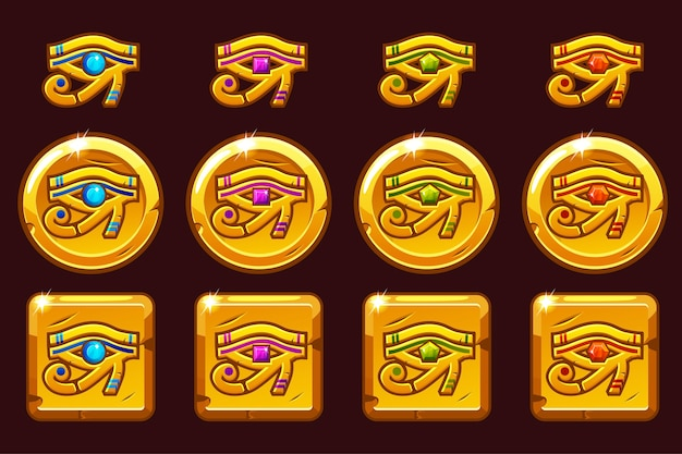 色付きの貴重な宝石を持つホルスのエジプトの目。