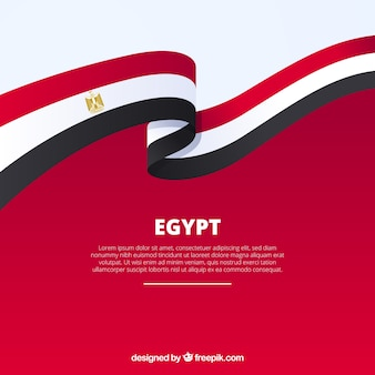 Egypt flag in ribbon shape