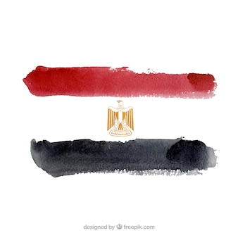 Egypt flag in watercolor style