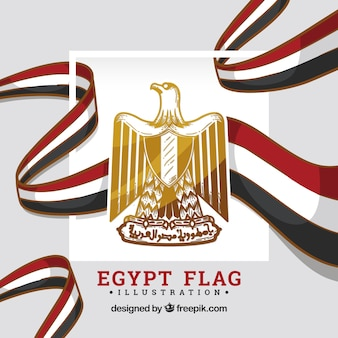 Egypt flag with shield
