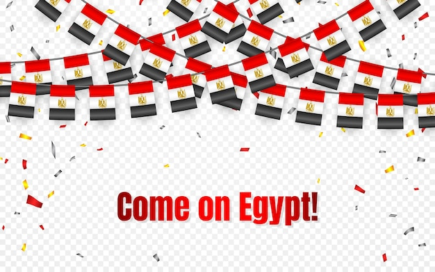 Egypt garland flag with confetti on transparent background, hang bunting for celebration template banner,