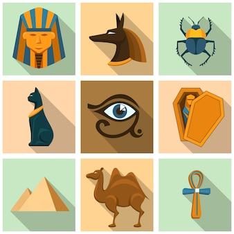 이집트 아이콘 세트입니다. 피라미드, 관과 석관, 미라와 비밀, 고고학과 스핑크스, 낙타와 딱정벌레